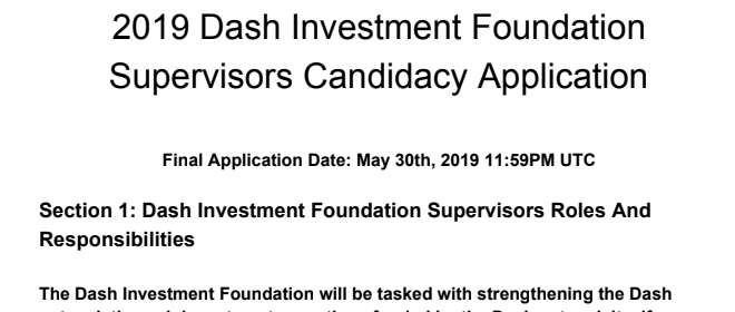 2019 Dash Investment Foundation Supervisors Candidacy