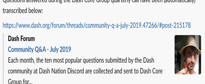 Questions answered during the Dash Core Group quarterly call have